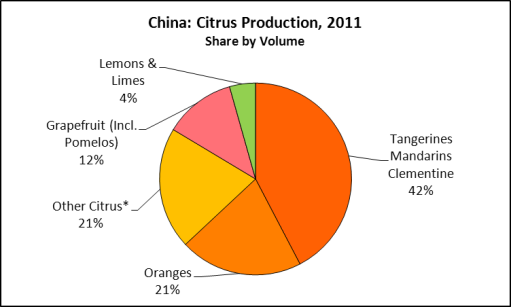 China Citrus Production by Fruit